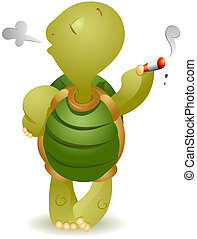 Turtle Smoking with Clipping Path