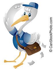 Stork Mailman with Clipping Path