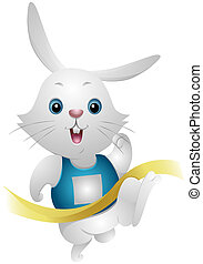 Winner Rabbit - Rabbit winning in Race with Clipping Path