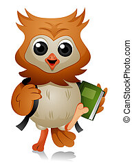 Owl Student with Clipping Path