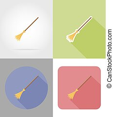 halloween witches broom flat icons vector illustration...