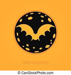 Happy halloween concept with bat and moon. Night party...