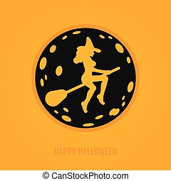 Happy halloween concept with moon and witch on a broomstick....
