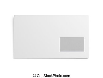 White envelope isolated on white background 3d rendering