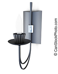 Wall sconces on white background. 3d rendering.