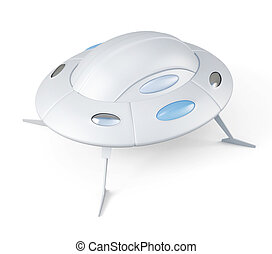 UFO top view isolated 3d rendering - UFO top view isolated...