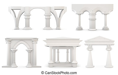 Set of columns isolated on white background 3d rendering