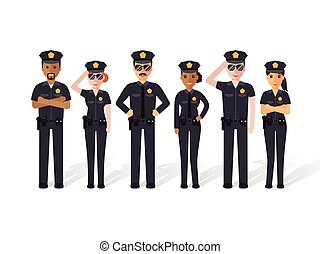 Police men and women - Group of police officers, man and...