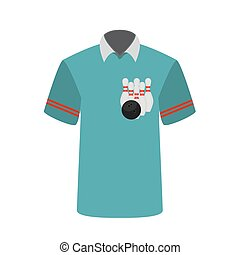 Blue T-shirt Player with the image of bowling skittles and...
