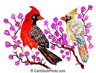 Red Cardinal Art - Cartoon red cardinal bird, illustration...