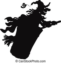 Halloween Witch flying - A sorceress in black with her old...