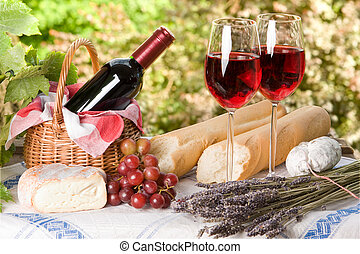 Summer lunch - Romantic lunch setting with wine and food for...