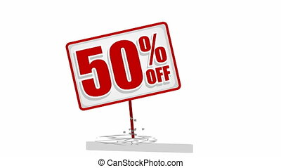 Video of 50 % discount sign