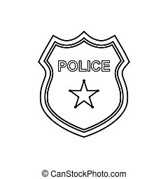 Police badge outline icon. Linear - Police badge outline...