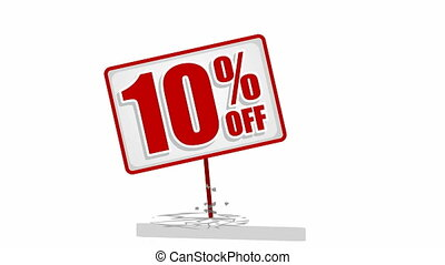 Video of 10 % discount sign