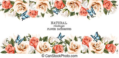Horizontal banner with roses and butterflies. Vector.