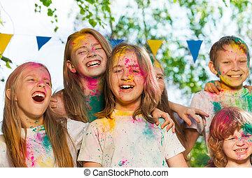 mazał, dzieciaki, barwny, proszek, portret, szczęśliwy