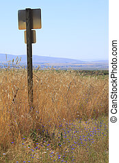 A sign post and wheat field.