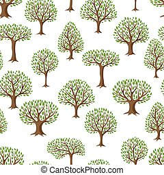 Seamless pattern with abstract stylized trees. Natural...