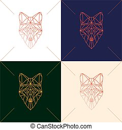 Set of four fox head geometric lines silhouette isolated on...