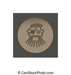 logo abstract pirate face on the background of a brown...