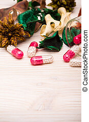 Pink capsules with green and orange leaves portrait