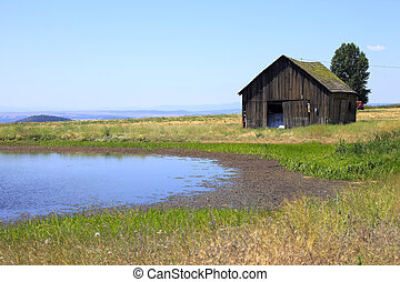 Old shack & a pond. - An old shack and a pond in eastern...