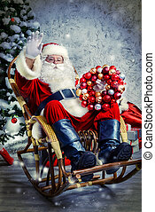 gifts for Christmas - Happy Santa Claus sitting in a rocking...