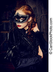 enigmatic lady - Charming mysterious girl in black mask and...