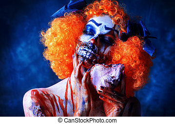 terrible bloody clown - Close-up portrait of a terrible...