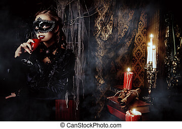 medieval castle - Charming mysterious girl in black mask and...