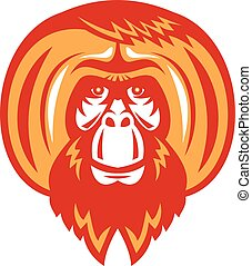 Orangutan Bearded Front Retro - Illustration of an...