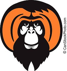 Orangutan Bearded Tussled Hair Retro - Illustration of an...