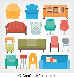 retro 70s furniture set. armchairs, chairs and sofas. vector...
