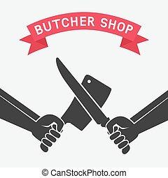crossed butcher knives. butcher shop concept design. vector...