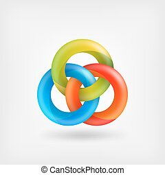 three abstract interlocking rings. vector illustration - eps...