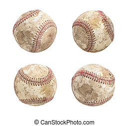 Set of dirty baseball isolated on white background
