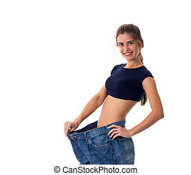 Woman wearing jeans of much bigger size - Young attractive...