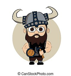 Viking helmet with an ax and shield - cute little Viking...