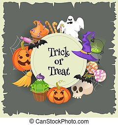 Trick or treat. Halloween poster background card. Vector...