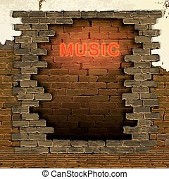 music neon light in the doorway of brick wall