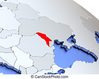 Moldova on world map - Map of Moldova on elegant silver 3D...
