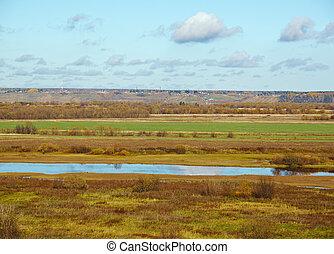 Autumn rural landscape - Fall River,Autumn rural landscape ....