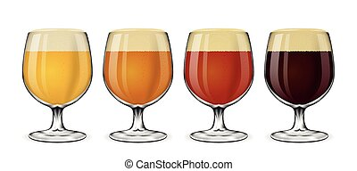 Beer glass vector set. Lager and ale, amber stout glasses on white