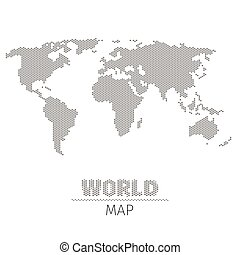 Hexagonal dots world map on white background vector...