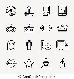 Video game linear icon set vector