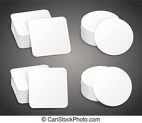 Paper blank beer coasters vector