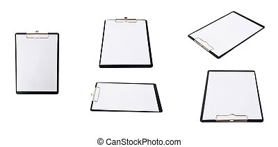 Set of  Black Clipboard over isolated white background