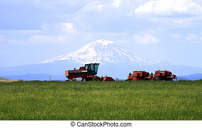 Farm machinery & Mt. Adams. - Farm tractor and machinery in...