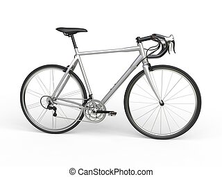 Silver sports race bicycle - side view